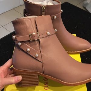 NWT Leather Booties with Pearl Trim.